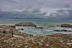 Caspian Sea, Caspian coast in the village of Zagulba. On a windy day stock photo