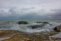 Caspian Sea, Caspian coast in the village of Zagulba. On a windy day royalty free stock images