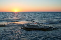 On the shore of the Caspian Sea. Caspian Sea in Kazakhstan. The Caspian Sea is the largest enclosed inland body of water on Earth by area, variously classed as royalty free stock image
