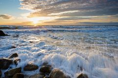 On the shore of the Caspian Sea. Caspian Sea in Kazakhstan. The Caspian Sea is the largest enclosed inland body of water on Earth by area, variously classed as stock photos