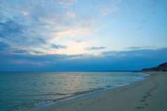 Coast of the sea at sunset. On the shore of the Caspian Sea. stock images