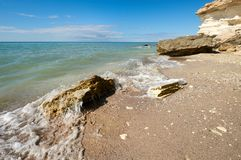 On the shore of the Caspian Sea. The Caspian Sea is the largest enclosed inland water body on Earth by area stock photo