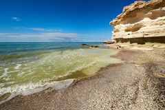On the shore of the Caspian Sea. The Caspian Sea is the largest enclosed inland water body on Earth by area royalty free stock image