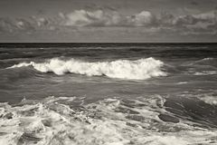 Caspian Sea in a storm. Black and white image stock photography
