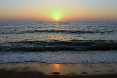 The Caspian sea at sunset. Looks very beautiful royalty free stock images