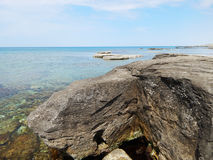 Caspian Sea. Water splashes around the stone. Caspian Sea. Kazakhstan royalty free stock photos