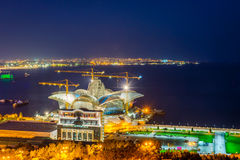 Caspian Waterfront mall under construction at night, Baku Stock Images