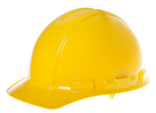 Casque antichoc d'isolement - jaune 45° Photographie stock