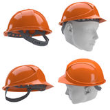 Casque antichoc orange 3d collage Photos libres de droits