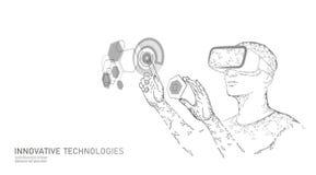 Casque augmenté virtuel de réalité bas poly Concept polygonal de divertissement de media d'innovation Affichage d'utilisateur de  illustration stock