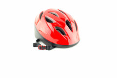Casque de bicyclette sur le fond blanc Photos stock