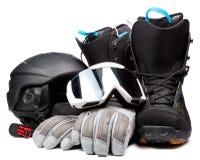Casque de gants de lunettes de bottes d'accessoires de snowboarding Photos stock