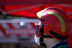 Casque de pompiers Photos stock