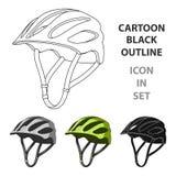Casque de protection pour des cyclistes Protection pour les athlètes principaux Icône simple d'équipement de cycliste dans le vec Photos stock