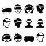 Casque de réalité virtuelle pour 3D le jeu, icônes de visionnement Photographie stock