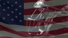 Casque de rugby et drapeau américain banque de vidéos