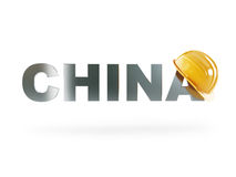 Casque de sécurité de Chine, casque de construction sur un fond blanc Photos libres de droits
