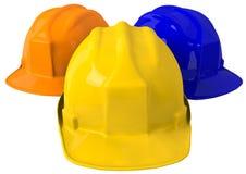 Casque de sécurité jaune ou casque antichoc sur le fond blanc Image stock