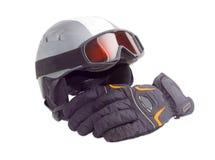 Casque de ski, lunettes de ski et gant protecteurs de ski Photo stock