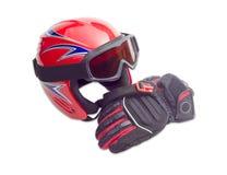 Casque de ski, lunettes de ski et gant protecteurs de ski Photos libres de droits