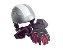 Casque de ski, lunettes de ski et gant protecteurs de ski Image stock