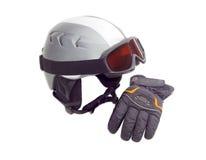 Casque de ski, lunettes de ski et gant protecteurs de ski Photo libre de droits