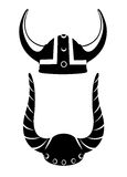 Casque de Viking illustration plate de casque de Viking sur le backgroud en bois de texture Photos stock
