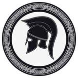 Casque du grec ancien avec une crête sur le bouclier sur un Backg blanc illustration stock