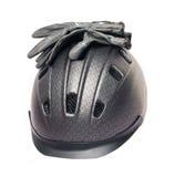 Casque et gants gris d'équitation Images stock