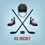 Casque, galet, bâtons et patins de hockey sur glace illustration de vecteur