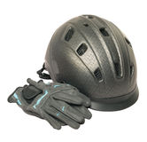 Casque gris et gants d'équitation d'isolement Photos stock