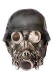 Casque militaire avec les lunettes et le masque de gaz Photographie stock libre de droits