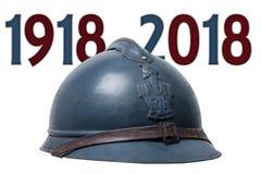 Casque militaire français de la première guerre mondiale d'isolement sur le blanc illustration stock