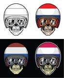 Casque néerlandais de drapeau de crâne de cycliste Image stock