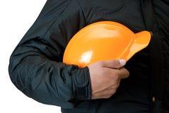 Casque orange photographie stock libre de droits