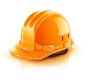 Casque orange pour l'ouvrier de constructeur Photographie stock