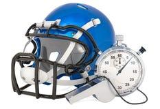 Casque pour le football américain avec le sifflement et le chronomètre, rendu 3D illustration de vecteur