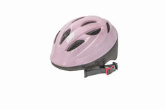 Casque rose de bicyclette photographie stock libre de droits