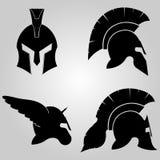 Casques de Spartans réglés images stock
