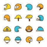 Casques et icônes de masques Image stock