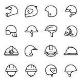 Casques et icônes de masques Photos stock