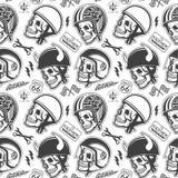 Casques faits main orientés de dessin de moto avec Images stock