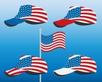 Casquette de baseball avec le drapeau des Etats-Unis Ensemble coloré Illustration de vecteur Photo libre de droits