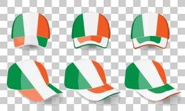 Casquette de baseball avec le drapeau de l'Irlande Ensemble coloré Illustration de vecteur Illustration Stock