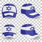 Casquette de baseball avec le drapeau de l'Israël Ensemble coloré Illustration de vecteur Illustration Libre de Droits