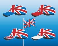 Casquette de baseball avec le drapeau de la Grande-Bretagne Ensemble coloré Illustration de vecteur Photo stock