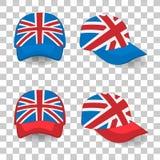 Casquette de baseball avec le drapeau de la Grande-Bretagne Ensemble coloré Illustration de vecteur Illustration Stock
