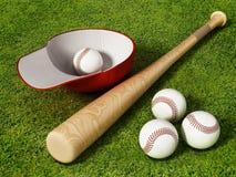 Casquette de baseball, boule et batte se tenant sur le champ d'herbe illustration 3D Illustration Libre de Droits
