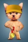 Casquette de baseball de port de chien drôle avec la médaille d'argent illustration stock