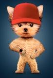 Casquette de baseball de port de chien drôle et montre intelligente illustration libre de droits